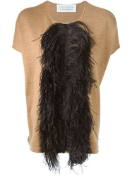Gianluca Capannolo Ostrich Feather Trim Top Nude And Neutrals