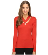 Versace Long Sleeve Cut Out Neckline Top Russet Women's Clothing Brown