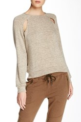 Shades Of Grey Raglan Cutout Sweatshirt Beige