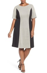 London Times Plus Size Women's Colorblock Zigzag Knit Fit And Flare Dress