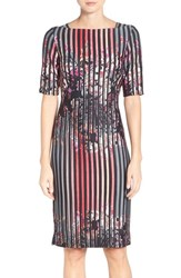 Gabby Skye Women's Floral Stripe Midi Dress