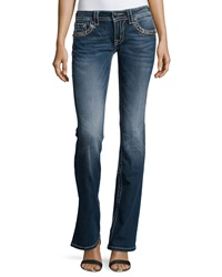Miss Me Embellished Signature Rise Faded Boot Cut Jeans Dark Wash