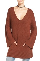 Sun And Shadow Women's Knit Bell Sleeve Tunic Brown Chino
