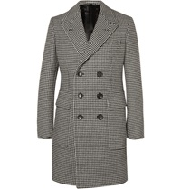 Tom Ford Slim Fit Double Breasted Houndstooth Wool Coat Black
