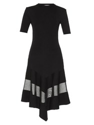 Givenchy Short Sleeved Sheer Panel Ribbed Dress Black