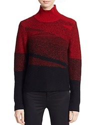 Elie Tahari Wool And Cashmere Turtleneck Sweater Red Multi