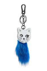Karl Lagerfeld Keychain With Fur Blue