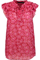 Marc By Marc Jacobs Cas Ruffled Printed Cotton And Silk Blend Top Red