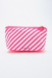 Forever 21 Ban.Do Striped Makeup Bag Hot Pink White