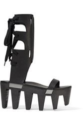 Rick Owens Lace Up Leather Platform Sandals Black