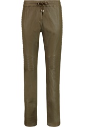 Balmain Quilted Leather Tapered Pants Green