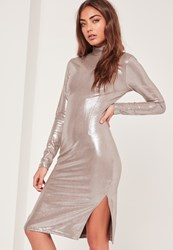 Missguided High Neck Foiled Suede Midi Dress Silver Grey