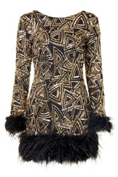 Long Sleeved Feather Trim Sequin Mini Dress By Rare Black