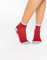 Asos Glittery Allover Watermelon Ankle Socks Multi