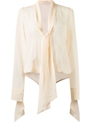 Giuliana Romanno V Neck Longsleeved Bodysuit Nude And Neutrals