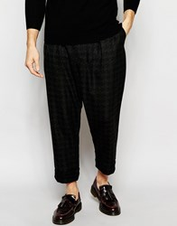 Asos Tapered Trousers With Dogtooth Print Wool Look Darkgrey
