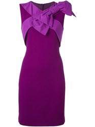 Boutique Moschino Bow Detail Dress Pink And Purple