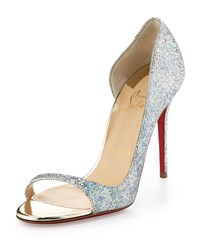 Christian Louboutin Toboggan Glitter 100Mm Red Sole Pump Multi Light Gold Women's Size 38.0B 8.0B