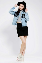 The Fates By Stolen Girlfriends Club Denim Fringe Jacket Light Blue