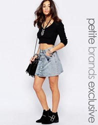 Glamorous Petite Mini Denim Skirt With Floral Embroidery Light Blue