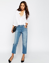 Asos Thea Midrise Girlfriend Jeans In Miami Vintage Blue With Displaced Knee Rips Vintageblue