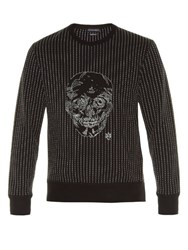 Alexander Mcqueen Skull Embroidered Crew Neck Sweater Black