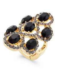 Inc International Concepts Gold Tone Black Stone And Crystal Figure Eight Stretch Ring Only At Macy's