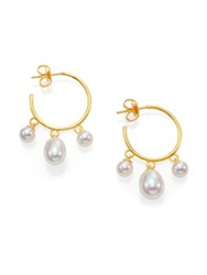 Majorica 6Mm 9Mm White Pearl Dangle Hoop Earrings 1.25 Gold