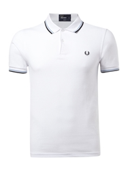 Fred Perry Slim Fitted Twin Tipped Polo Shirt White