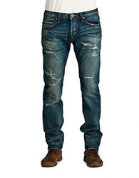 Cult Of Individuality Greaser Straight Reck Wash Jeans Blue