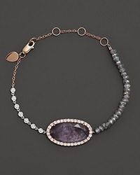 Meira T 14K Rose Gold Rough Amethyst Beaded Bracelet With Diamonds Pink Purple