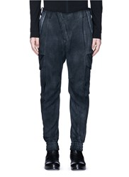 Devoa Leather Trim Ruched Wool Pants Grey