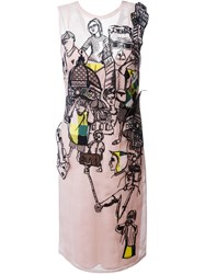 Emilio Pucci Embroidered Overlay Shift Dress Pink And Purple