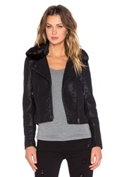 Black Orchid Faux Leather Jacket With Faux Fur Collar Black