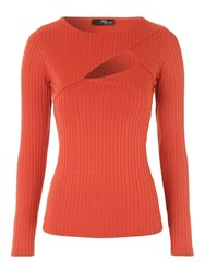 Jane Norman Rust Rib Cut Out Top