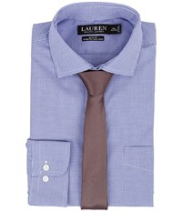Lauren Ralph Lauren Slim Fit Stretch Non Iron Poplin Spread Collar Dress Shirt Blue White Check Men's Clothing