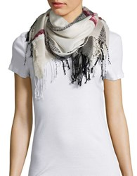 Collection 18 Fringed Plaid Wrap Ivory