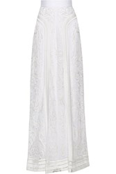 Temperley London Bertie Embroiderd And Appliqued Tulle Maxi Skirt White