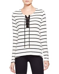 Red Haute Lace Up Striped Sweater Natural