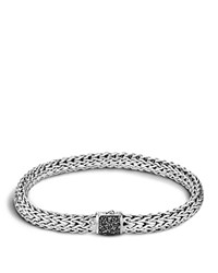 John Hardy Men's Classic Chain Sterling Silver Lava Medium Bracelet With Black Sapphires Black Silver
