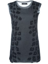 Diesel Animal Print Top Black