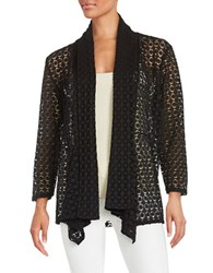Nipon Boutique Geometric Cutout Cardigan Black