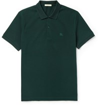 Burberry Brit Slim Fit Cotton Pique Polo Shirt Green