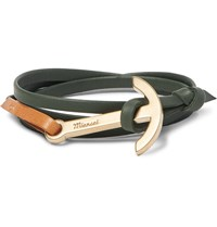 Miansai Modern Anchor Leather And Gold Plated Wrap Bracelet Dark Green
