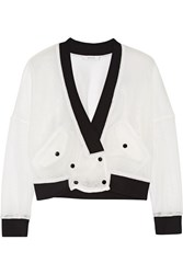 Milly Two Tone Mesh Jacket White