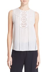 A.L.C. Women's 'Penny' Crochet Lace Silk Tank White