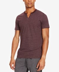 Kenneth Cole Reaction Men's Split Neck Striped Eyelet T Shirt Plumberry