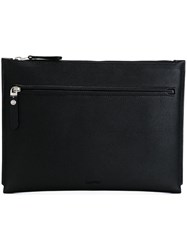 Lanvin Zip Detail Flat Clutch Black