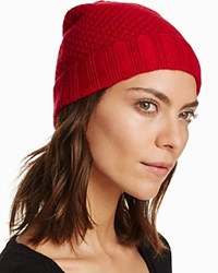 Bloomingdale's C By Waffle Knit Cashmere Hat Cherry