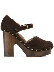 L'autre Chose Shearling Lined Clog Style Sandals Brown